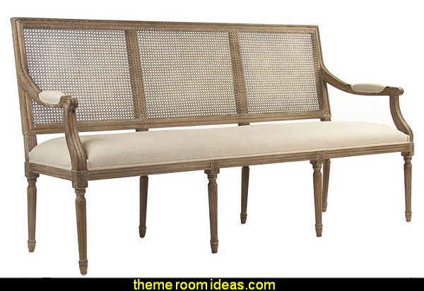 Country French Caned Wood Linen Bench