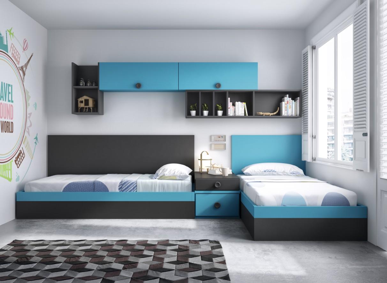 Juvenil camas en ngulo 1524 for Dormitorios juveniles dos camas en l