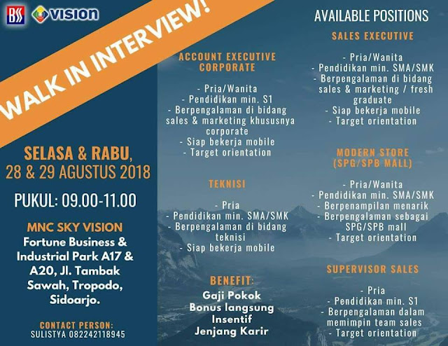 walk in interview MNC SKY VISION Surabaya