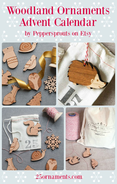 If you appreciate natural materials, cute animals, and seasonal figures like mittens and snowflakes, you'll love this Woodland Ornaments Advent Calendar from Peppersprouts.