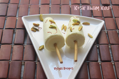 Kesar Badam Kulfi - Home Made Kulfi Recipe