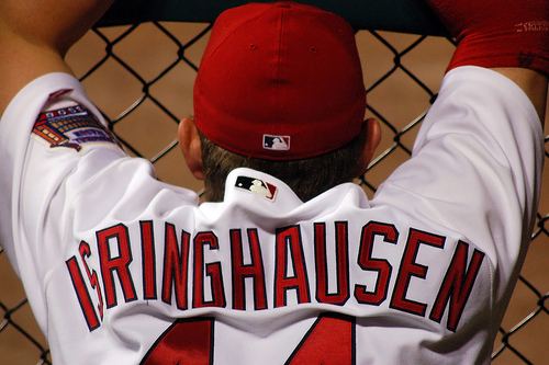 Isringhausen baseball jersey from behind