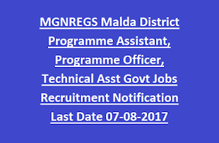 MGNREGS Malda District Programme Assistant, Programme Officer, Technical Asst Govt Jobs Recruitment Notification 2017