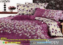 Sprei Custom Katun Lokal Dewasa Popy Ungu Ima Bunga Floral Ungu