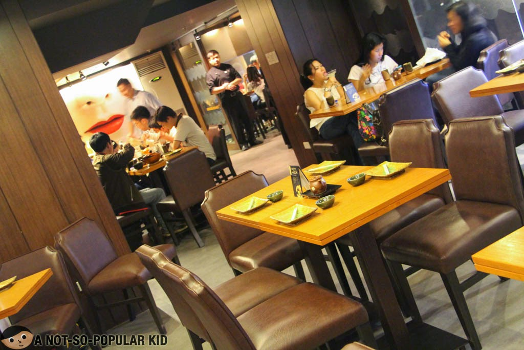 Cozy and dim interior of Yumi Japanese Restaurant