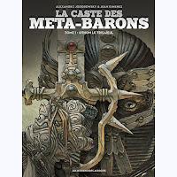 Portada de la novela gráfica La casta de los metabarones, en la que aparece Othon con una espada y casco medievales.