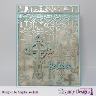 Divinity Designs: Embossing Folder/Die Duo: Cross, Custom Dies: Inspiration Words, Pierced Rectangles, Deco Border