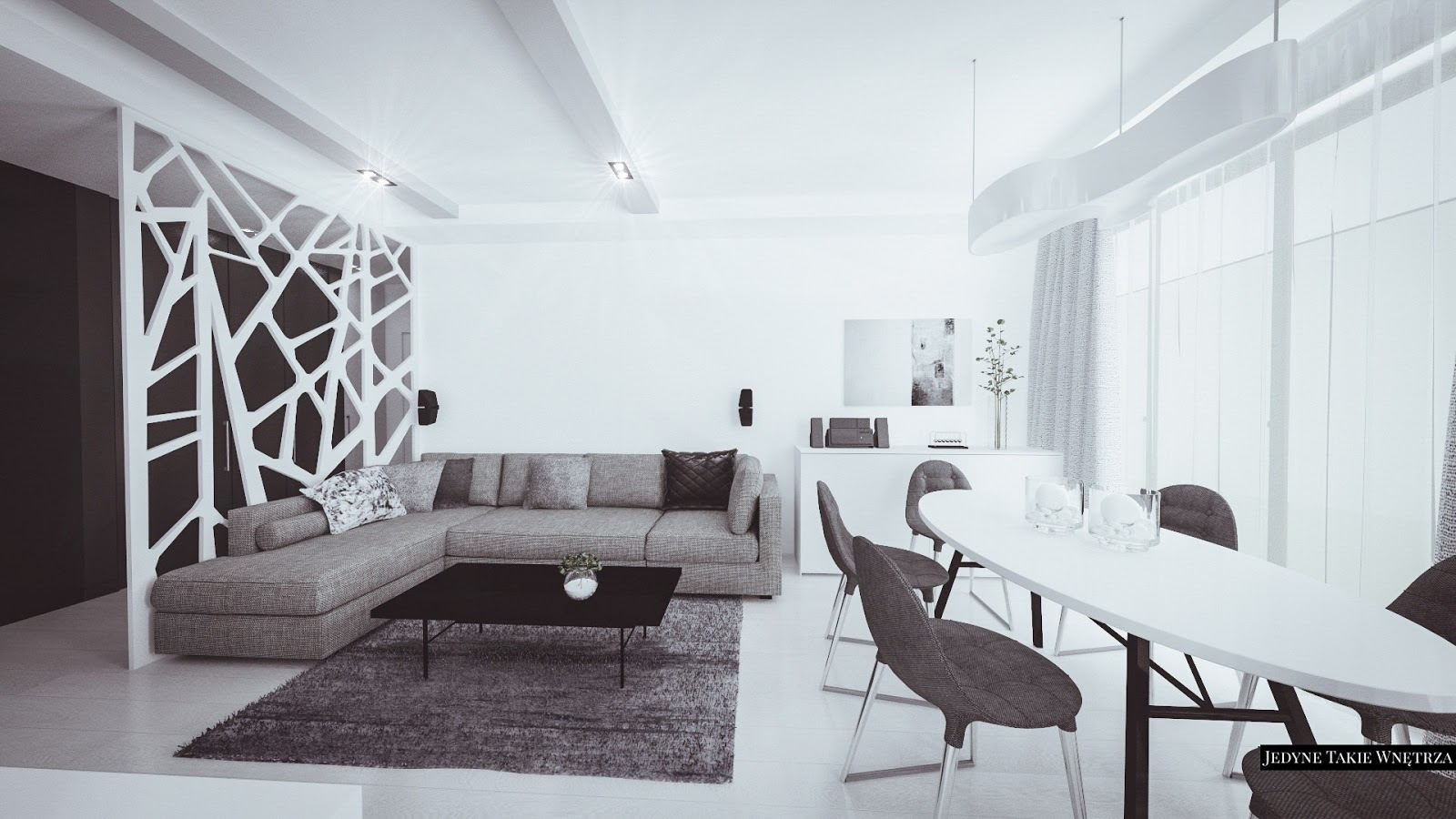 Monochromatyczne wnętrza mieszkania w Warszawie