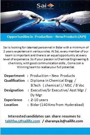 Sai Life Sciences | Urgent requirement for Production Operators | Send CV
