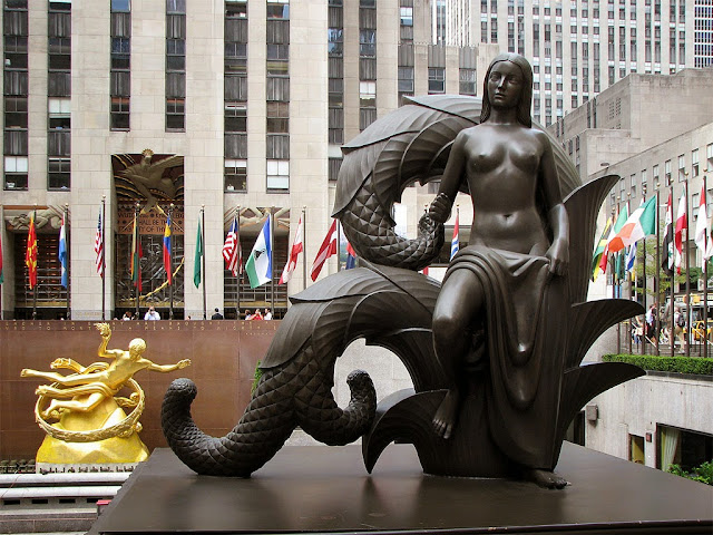 First human Maiden made from clay by Prometheus, by Paul Manship, Rockefeller Center, New York
