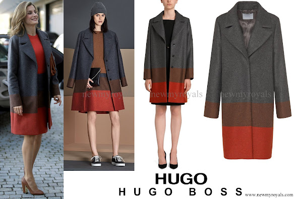 Queen Letizia wore HUGO BOSS Colorina Wool Blend Cashmere Striped Coat