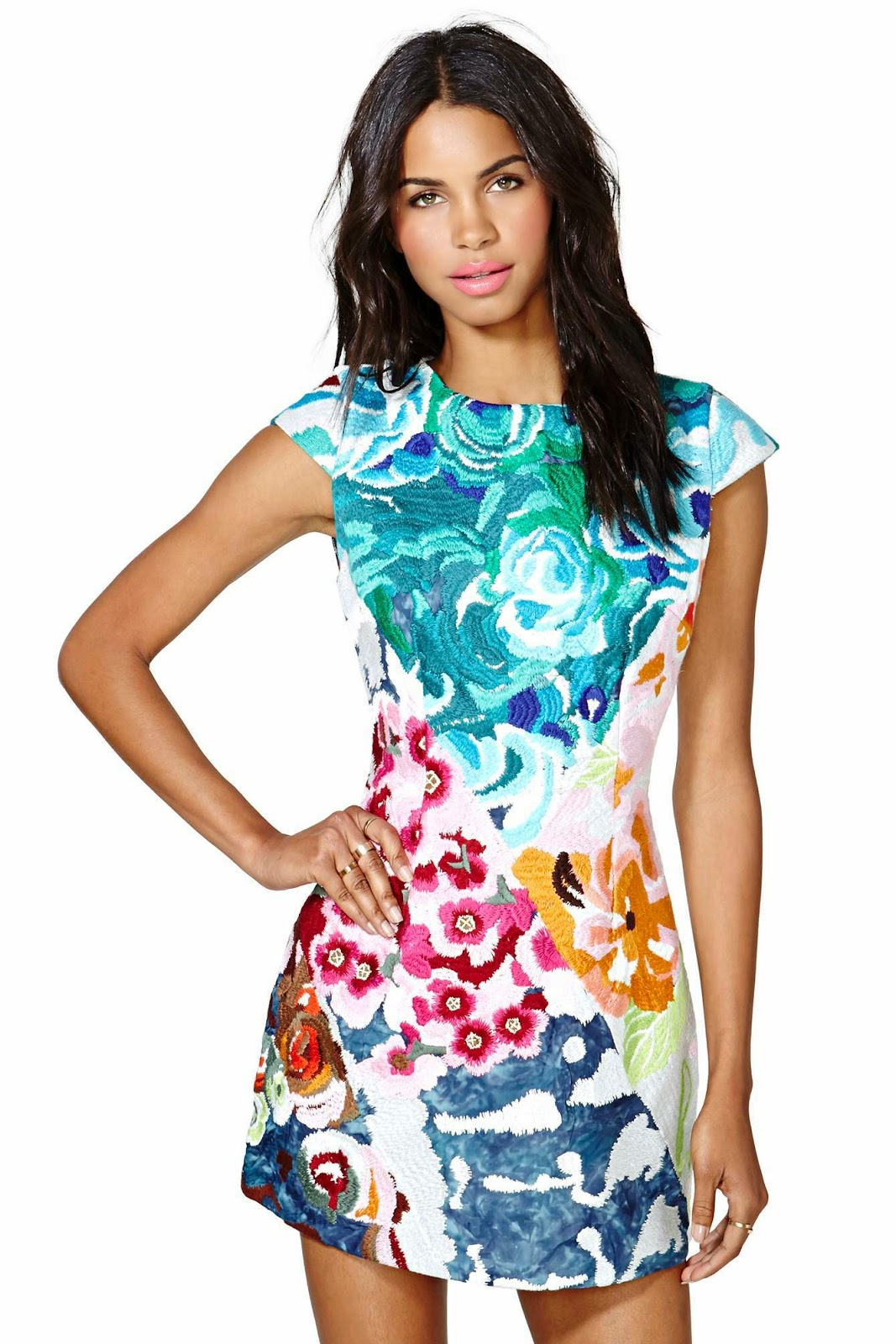Pinterest find -  Beautiful bright colored floral embroidered dress