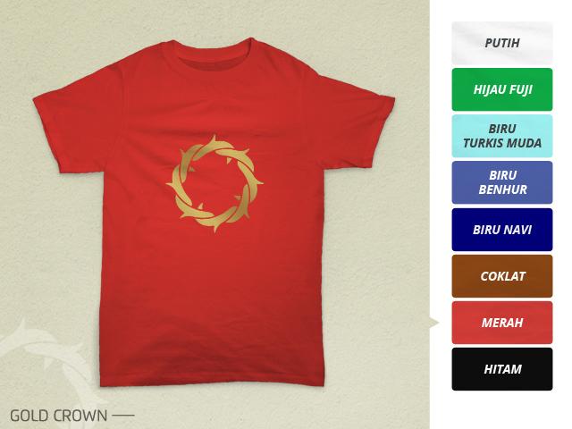 Preview desain kaos rohani mahkota duri emas di warna merah