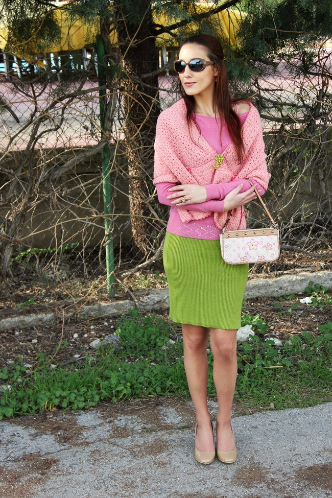 ladylike and feminine chartreuse green and pink outfit