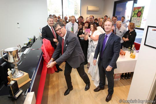L-R: Tim Mordaunt, principal of Property Brokers Ltd, Palmerston North; Paul Whitaker, regional manager Hawke's Bay, official opening of the new Property Brokers building in St Aubyn St West, Hastings. photograph