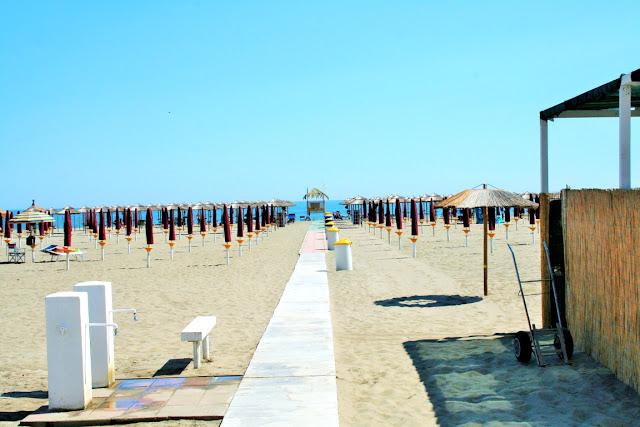 lido, sabbia, spiaggia, fontane, mare, ombrelloni, cielo, sole