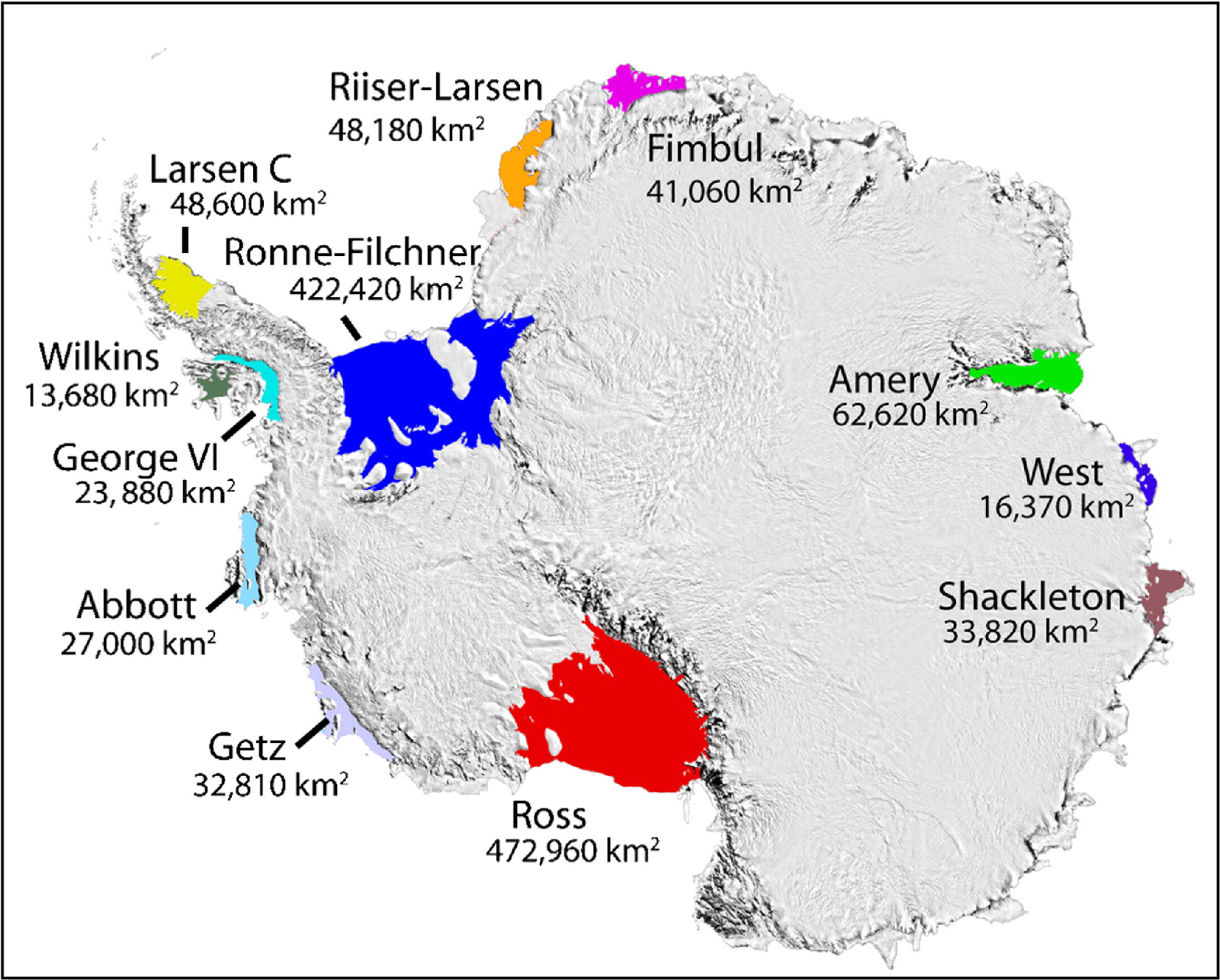map of Antarctica which highlights the locations of the 12 major ice shelves
