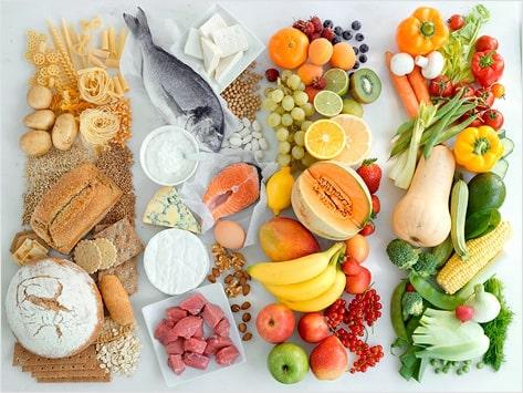 muchas verduras y frutas