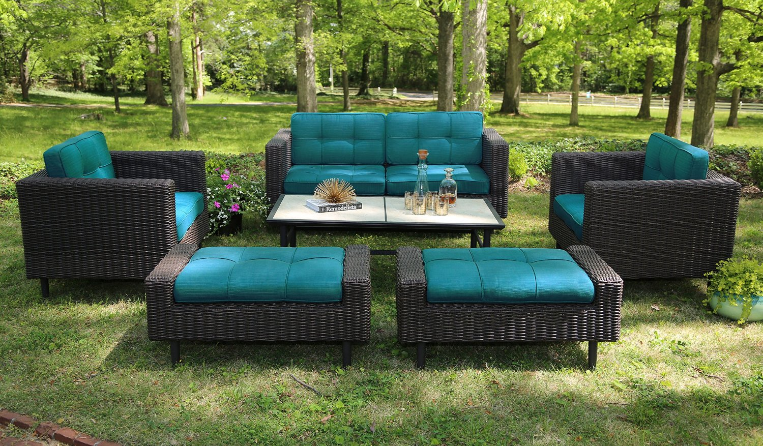 Ae outdoor 6 piece all weather wicker wright deep seating for Sofa exterior rattan sintetico