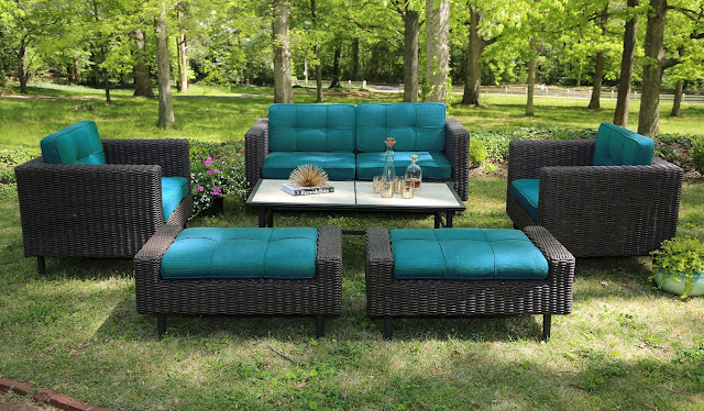 AE Outdoor 6-Piece All Weather Wicker Wright Deep Seating Sofa Set with Sunbrella Fabrics