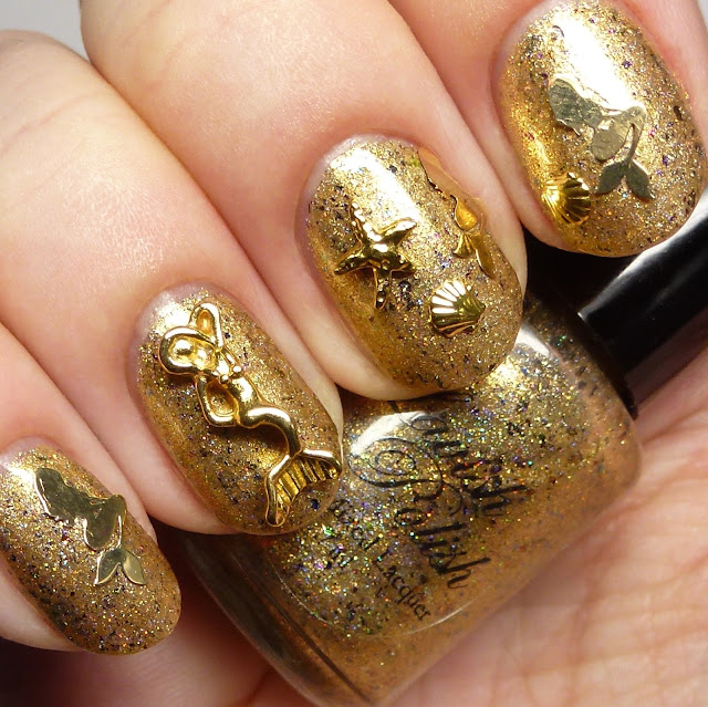 Lavish Polish Awesome Sauce Indie Box Mermani Golden Mermaid nail art