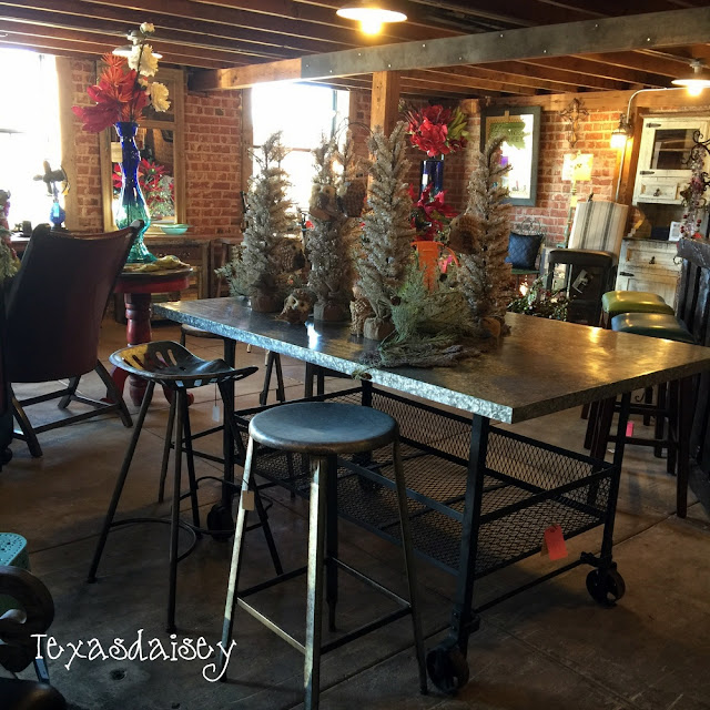Look what I found at Gordon's Furniture. A farmhouse industrial style bar,/table and stools.