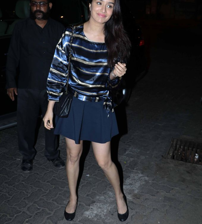 Shraddha Kapoor Thighs Legs Stills In Blue Skirt