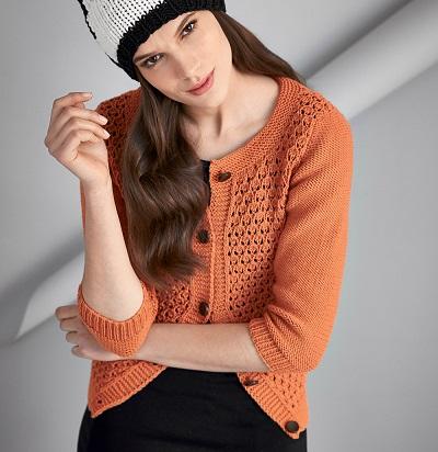вязание спицами и крючком оранжевая кофта с ажурным узором