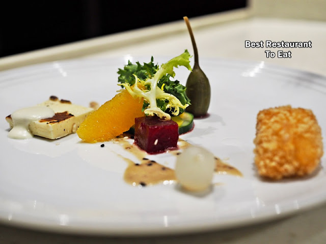 Seared Haloumi and Breaded Camembert - Vegetarian Fine Dining