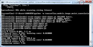 Running the MNIST example on TensorFlow on Windows