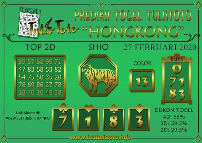 Prediksi Togel HONGKONG TULISTOTO 27 FEBRUARI 2020