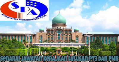Senarai Jawatan Kerajaan Lulusan PT3 dan PMR