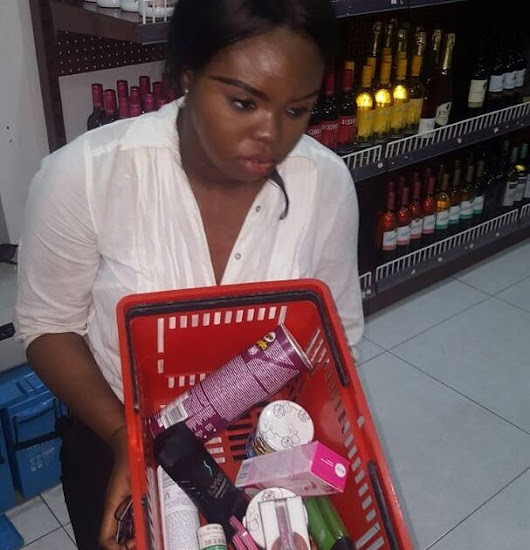 Slay queen caught stealing cosmetics from Lagos supermarket