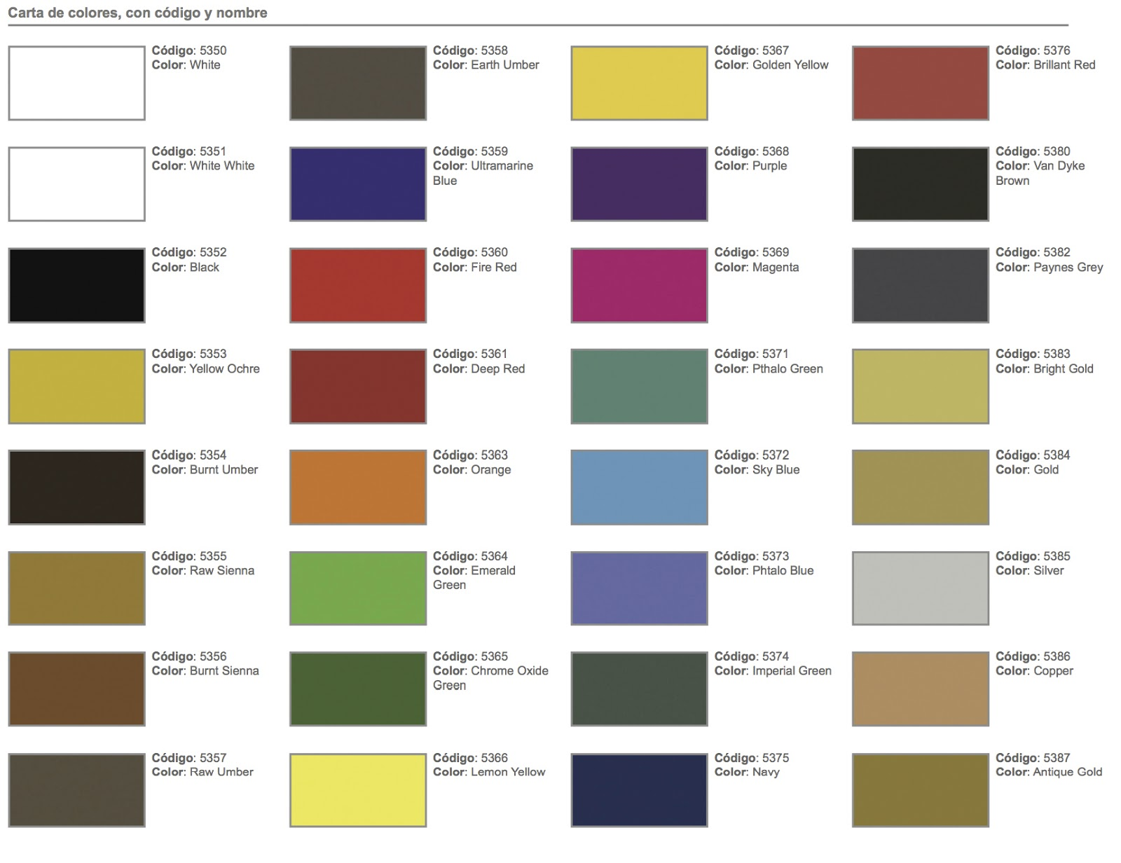 Eres Escenografo Utilizas La Pintura Adecuada Para Pintar - Carta-colores-pintura-pared