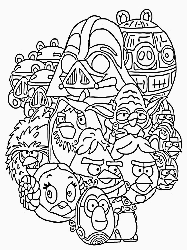 free coloring pages and star wars | Angry Birds Star Wars Coloring Pages Printable