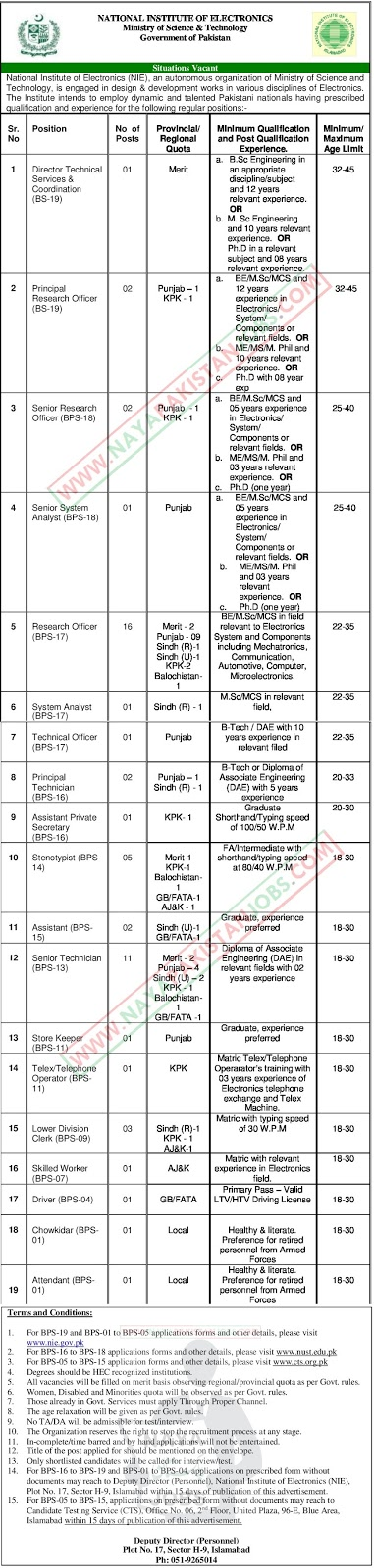 nie jobs, National Institute of Electronics Jobs 2019 March | Govt of Pakistan