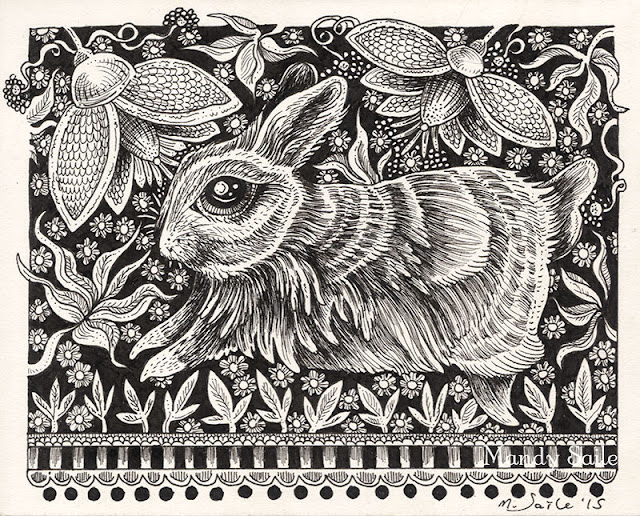 Mandy Saile, Artwork, ink drawing, illustration, rabbits, bunnies