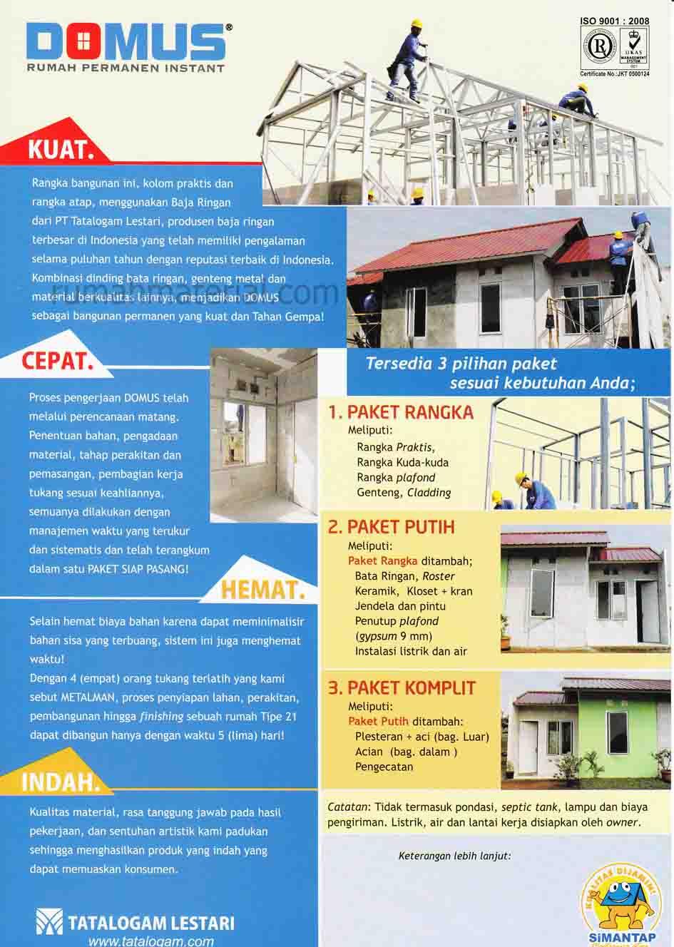 Rumah Permanen Instan Domus Kuat Cepat Hemat Material Keunggulan Desain