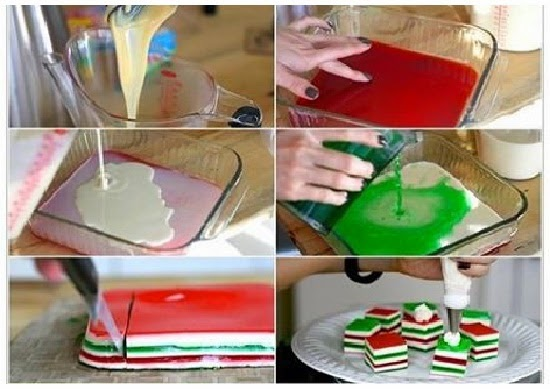 Gelatina natalina fácil de fazer e nas cores do Natal