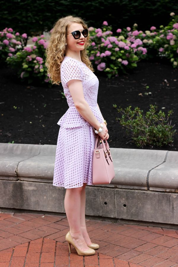 Banana Republic lilac geo lace peplum dress