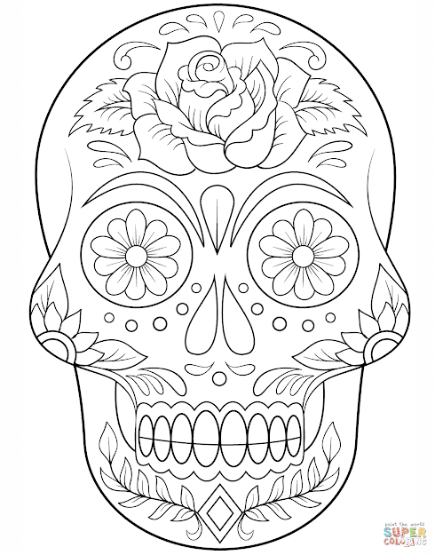 Click The Sugar Skull With Flowers Coloring Pages