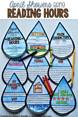 """We all know the adage """"April Showers Brings May Flowers"""" - well this is a fun twist on the expression that can be used to motivate students to read and deepen their comprehension and re-telling skills.  """"April Showers Bring...Reading Hours"""" is a fun and engaging resource that includes everything you need to assign, complete, and assess a project that can be used with ANY BOOK! (picture book or chapter book). Created by Jessica Lawler @ Joy in the Journey"""