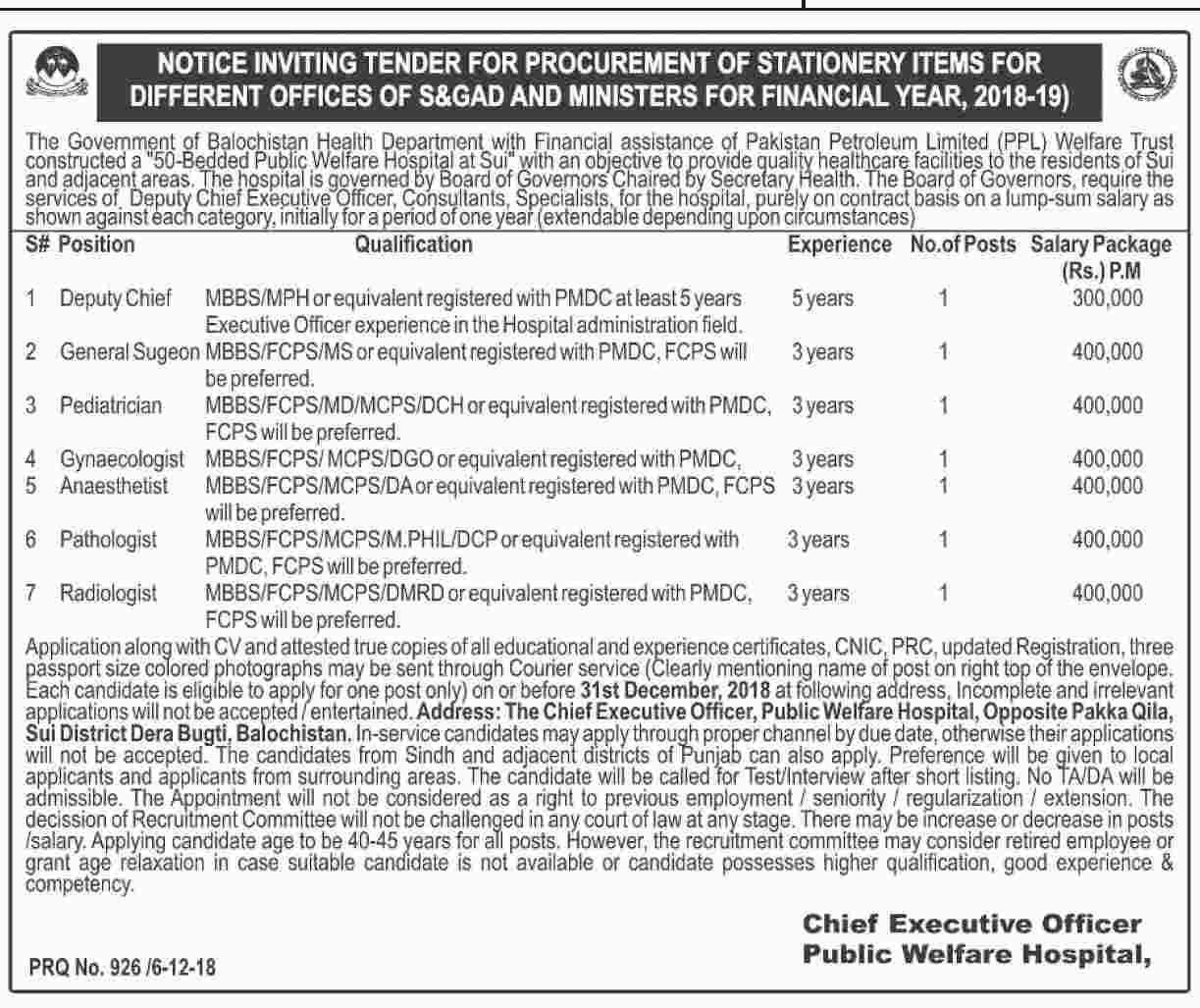Health Department Govt of Balochistan New Vacancies