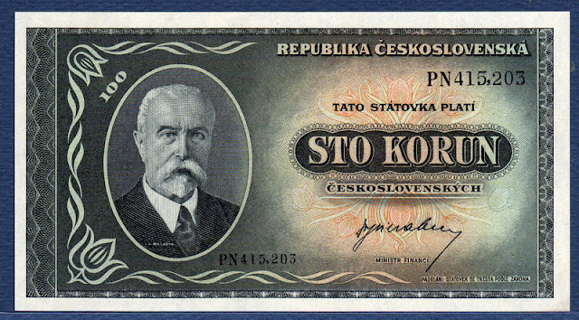 Czechoslovakian banknotes money 100 korun banknotes notes