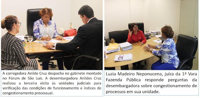 Corregedora da justiça do Ma monta gabinete em Fórum e inspeciona secretarias judiciais.