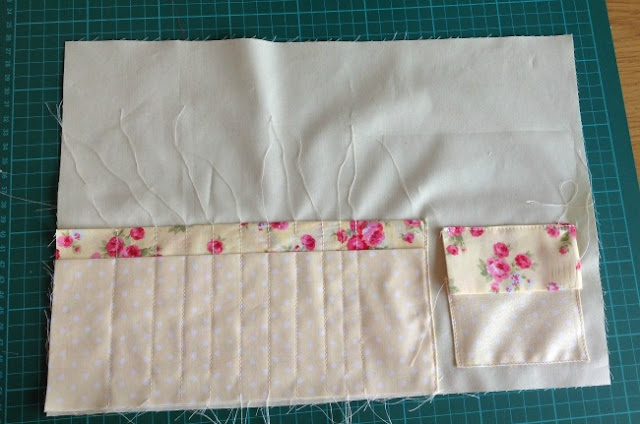 pocket and flap placed and sewn into position