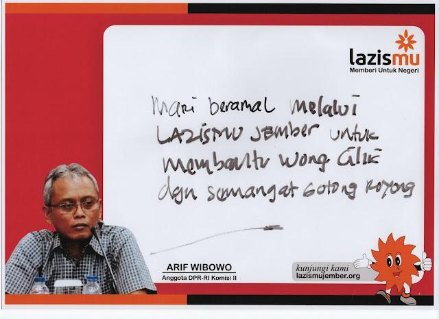 Statemen Arif Wibowo untuk Lazismu Jember