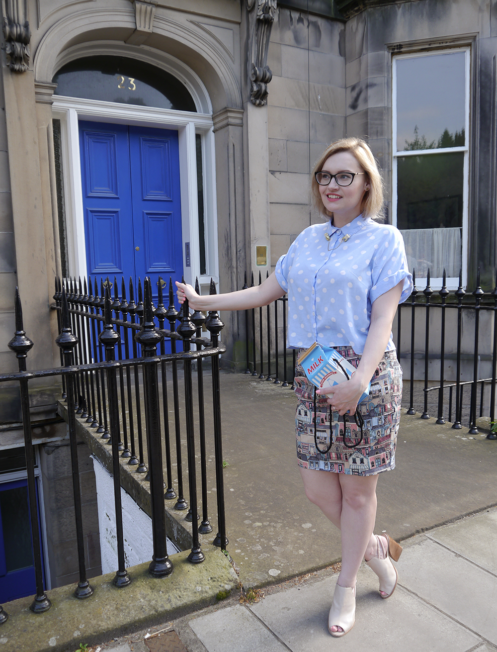 Scottish blogger, Edinburgh blogger, Wardrobe Conversations, polkadot shirt, By Hand London skirt, Scottish street style, quirky street style, dressing to a theme, food inspired outfit, pale girl style,