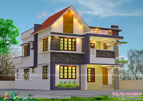 Cute double storied Kerala home 2648 sq-ft