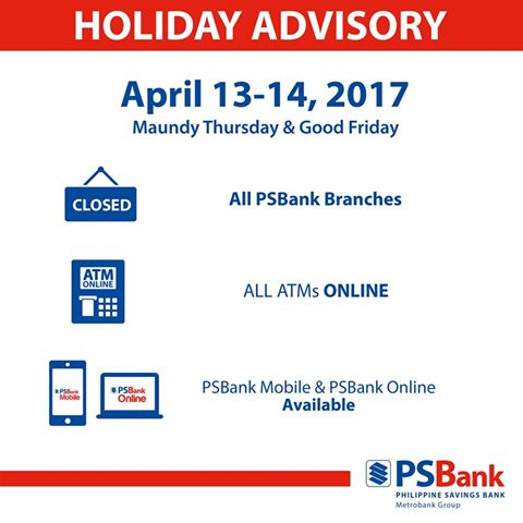 PS Bank Holy Week 2017 schedule